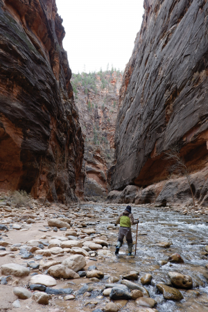Winter river hiking: Andrea Yu hiking through the Narrows in Zion National Park, Utah