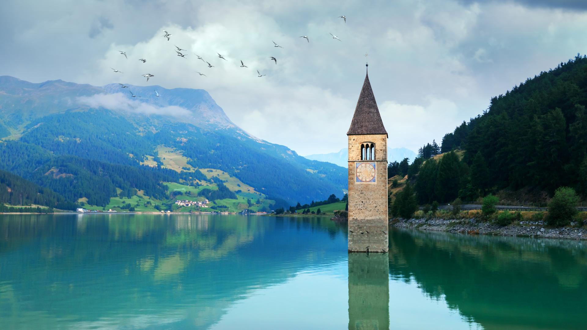 Lake Reschen Bell Tower in South Tyrol, Italy