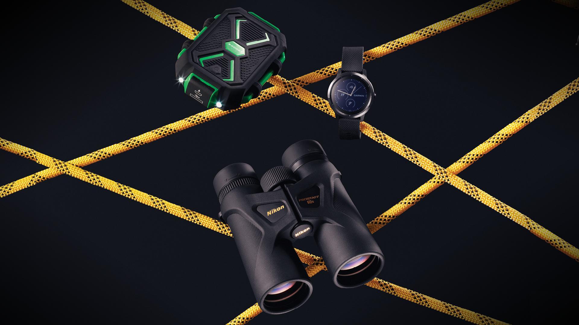 hiking essentials fall 2020 | binoculars, power pack, Garmin smartwatch