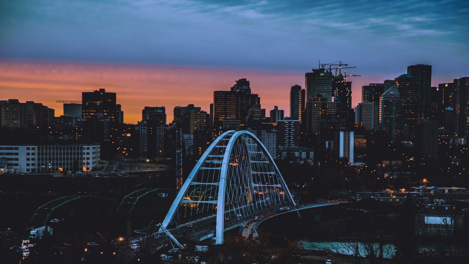Edmonton, Alberta at sunset