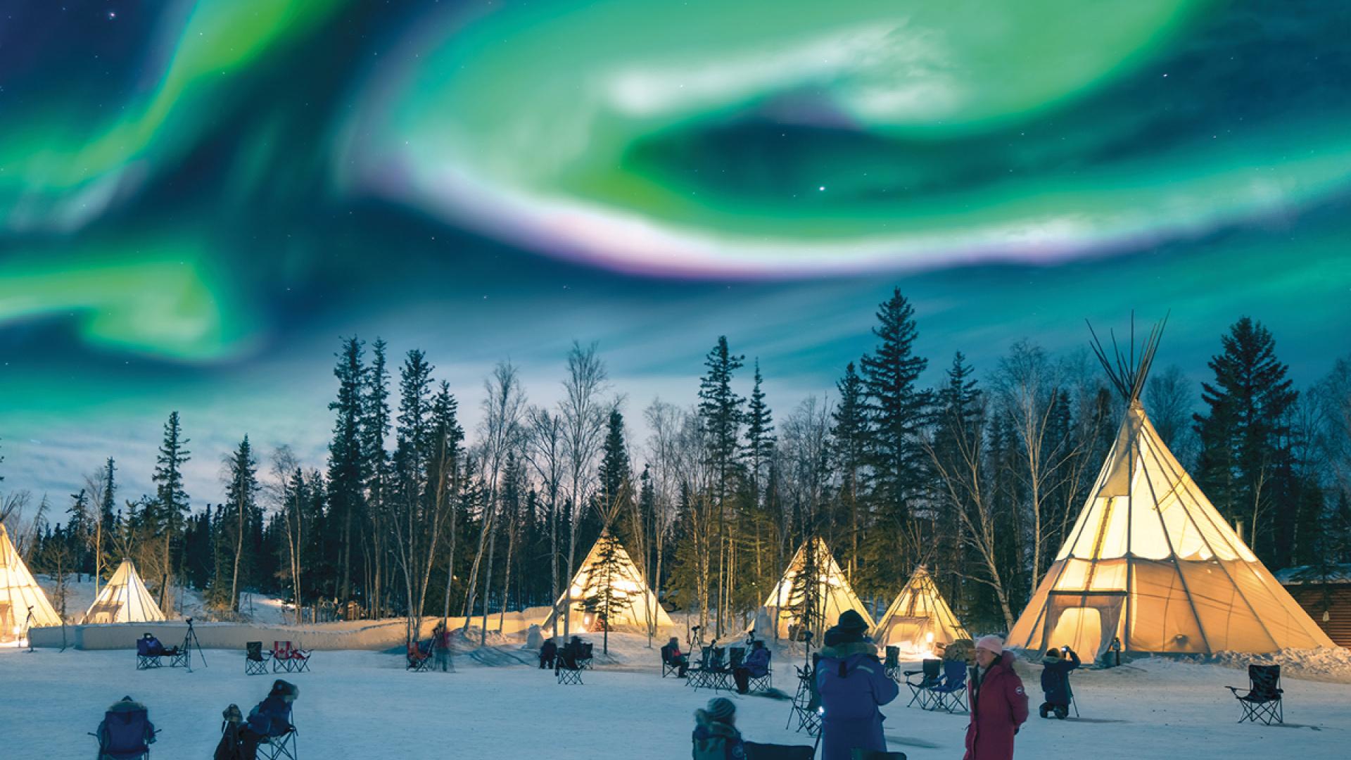Aurora Borealis in Aurora Village, Yellowknife