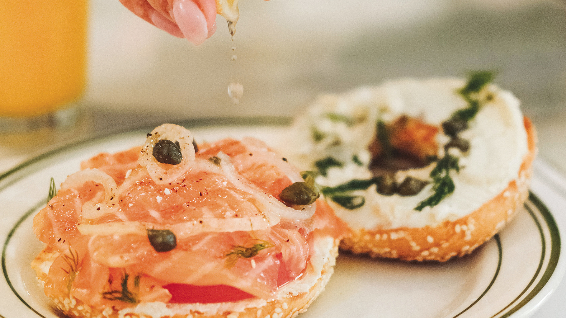 Montreal bagels | A bagel topped with cream cheese and salmon lox