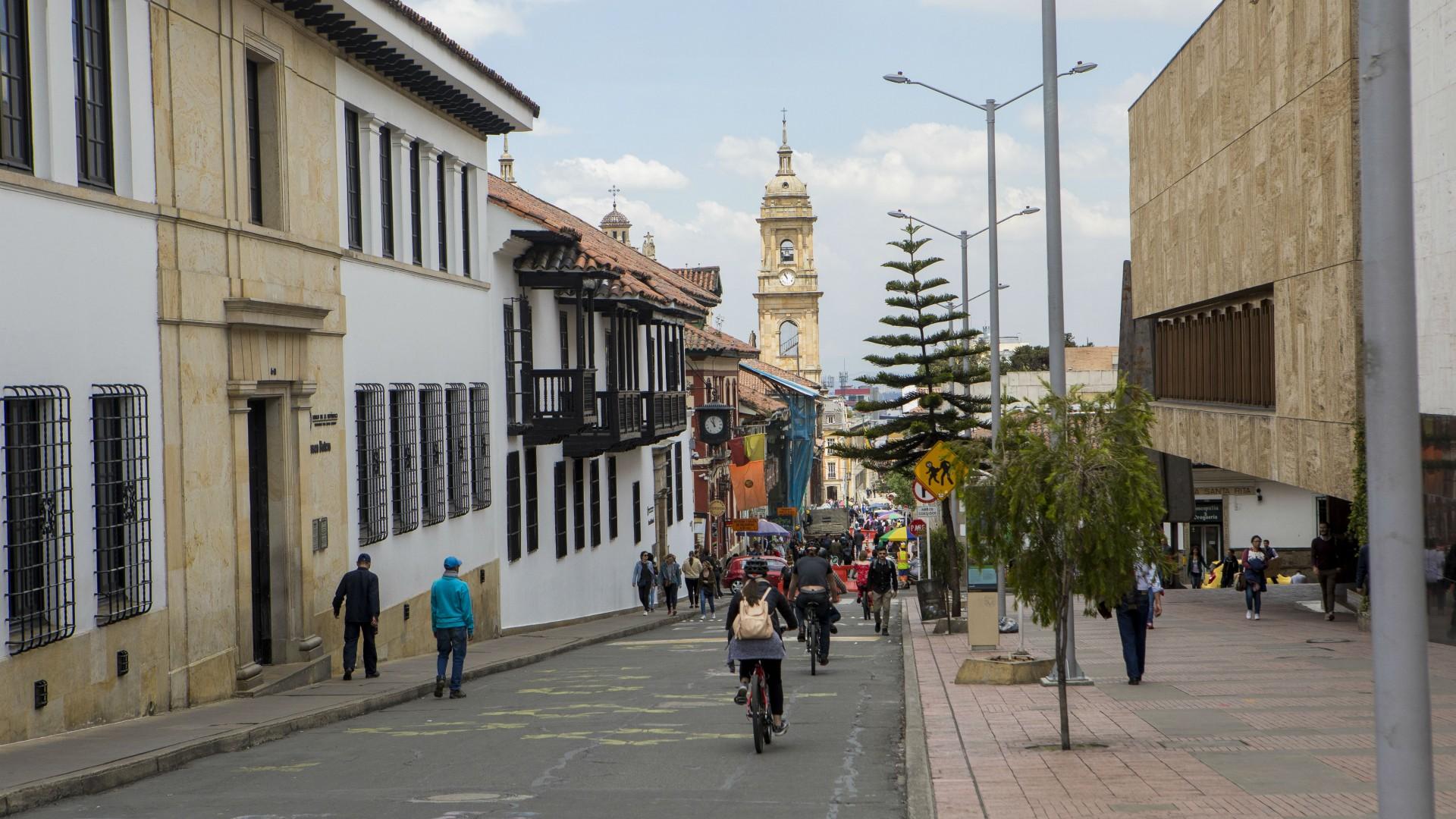 Biking through Bogota