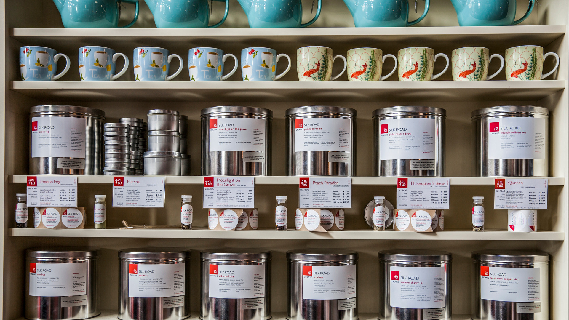 Restaurants in Victoria, B.C. plus hotels, activities and more | Shelves lined with tins of tea and mugs