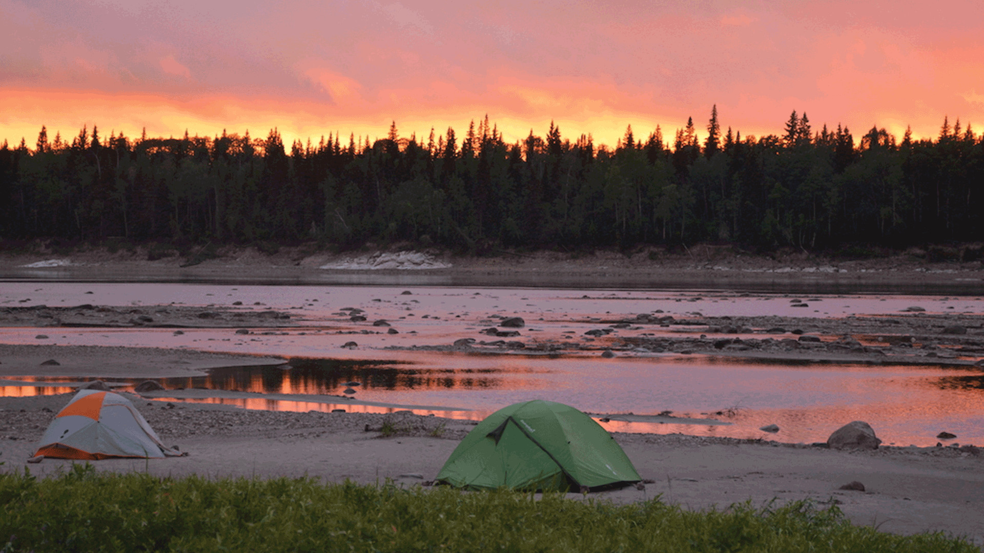 Sunset at the gravel bar campsite on the Lower Missinaibi River