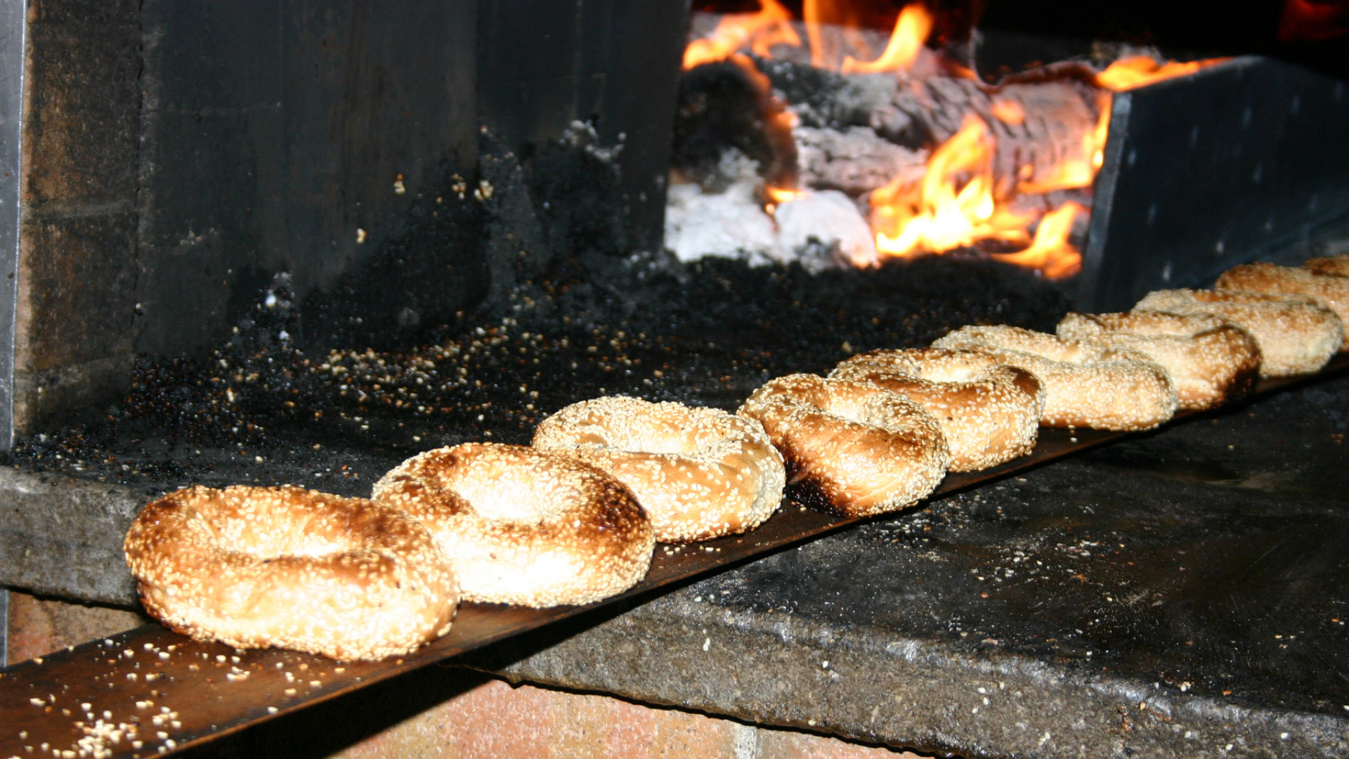 Montreal bagels | Sesame bagels coming out of the oven at St-Viateur bagel shop