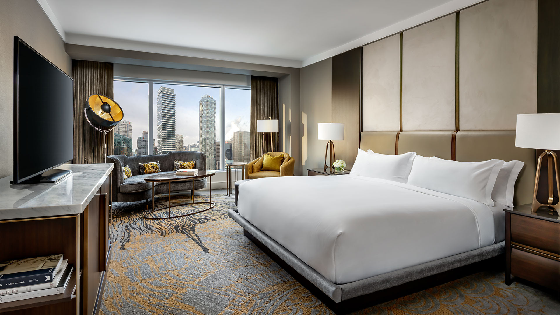 The Ritz-Carlton Hotel Toronto | Bedroom suite overlooking downtown Toronto