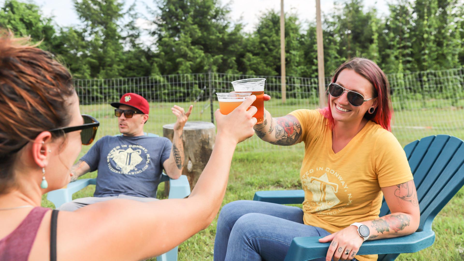 New Hampshire restaurants and activities | The outdoor beer garden at Tuckerman Brewing in Conway New Hampshire