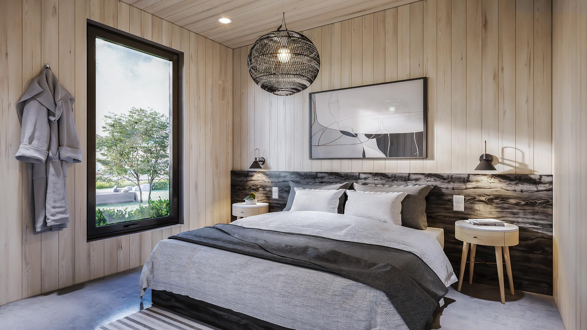 Ontario's coolest cabins to rent | The master bedroom inside a cabin at Wander resort in Prince Edward County, Ontario