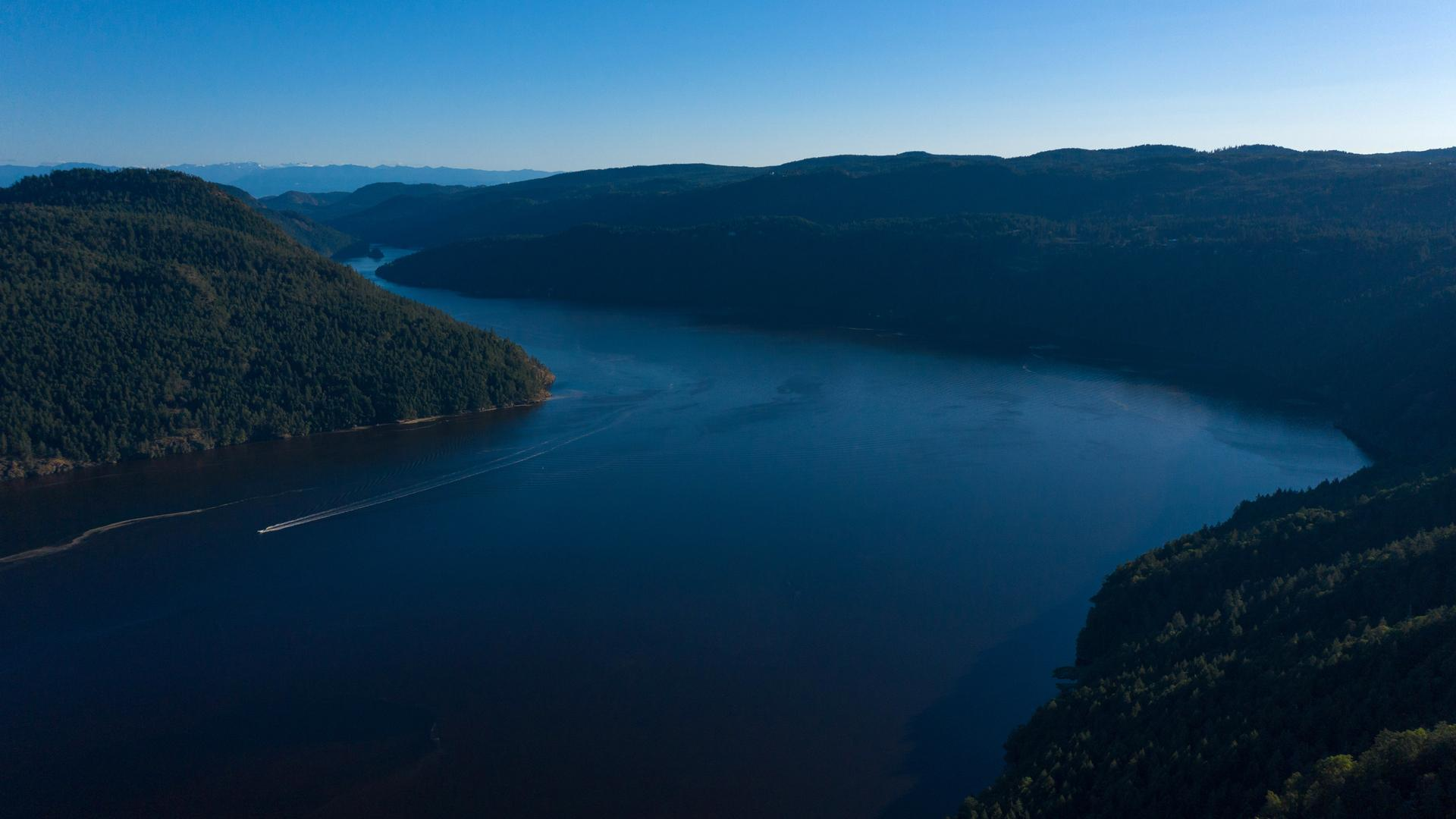 A beautiful river view from the Malahat Skywalk in Vancouver