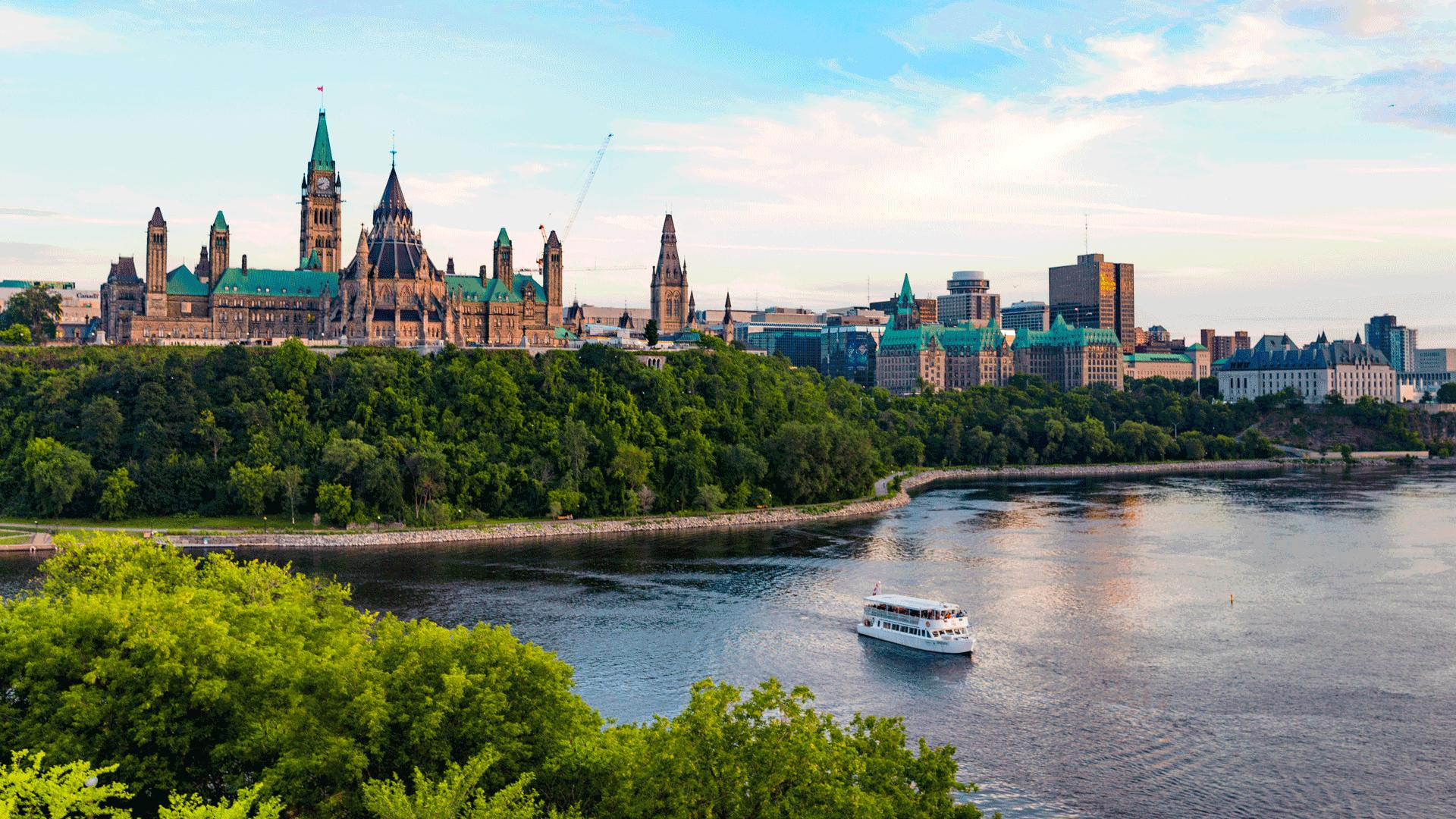The best things to eat and do in Ottawa | Parliament Hill overlooking the Ottawa River