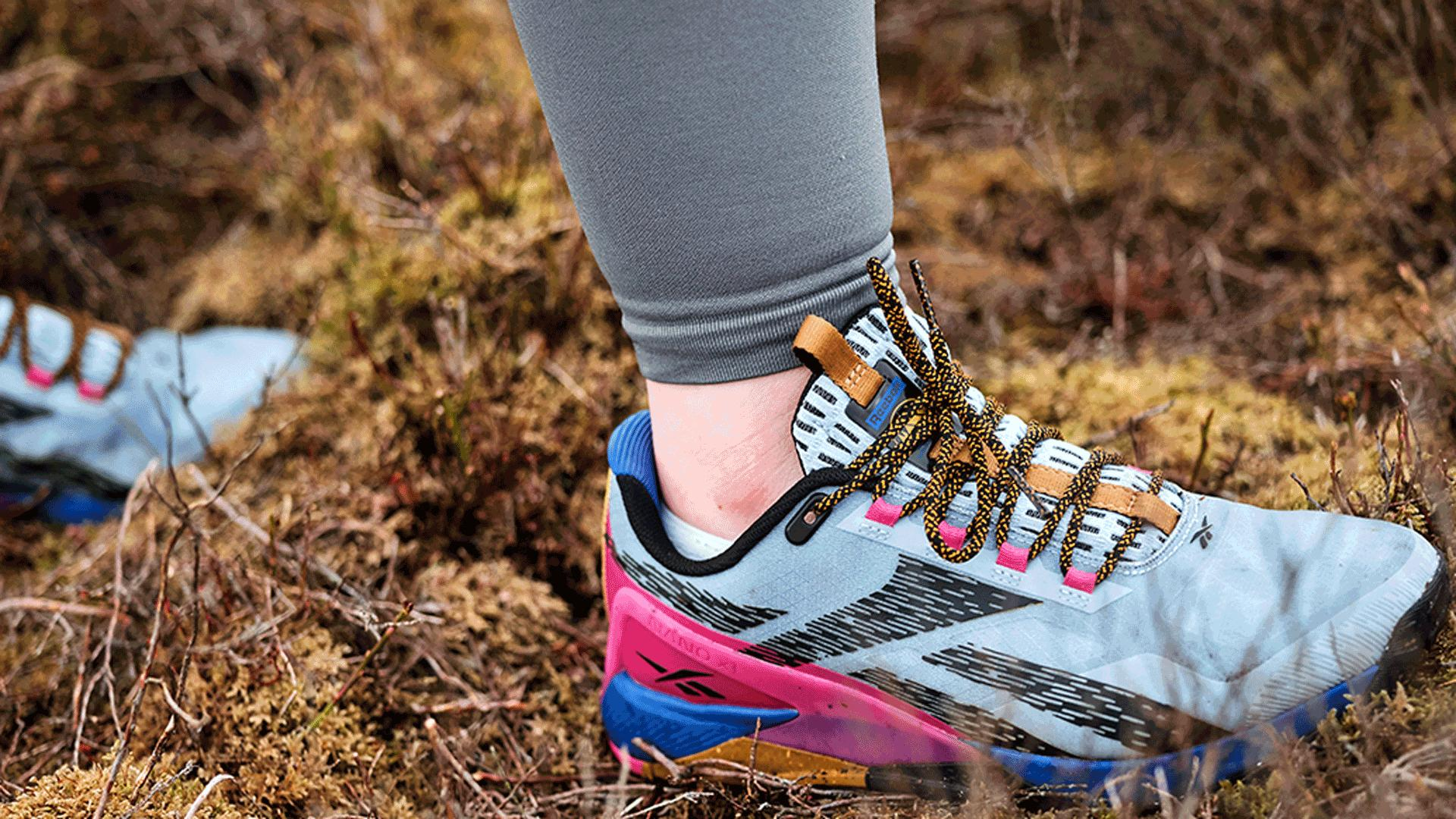 Reebok's Nano X1 Adventure training shoe | Hiking through a field