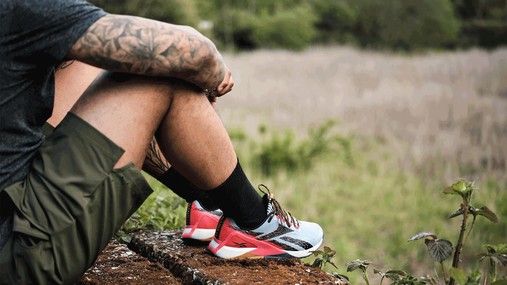 Reebok's Nano X1 Adventure training shoe | Resting on a rock after a hike
