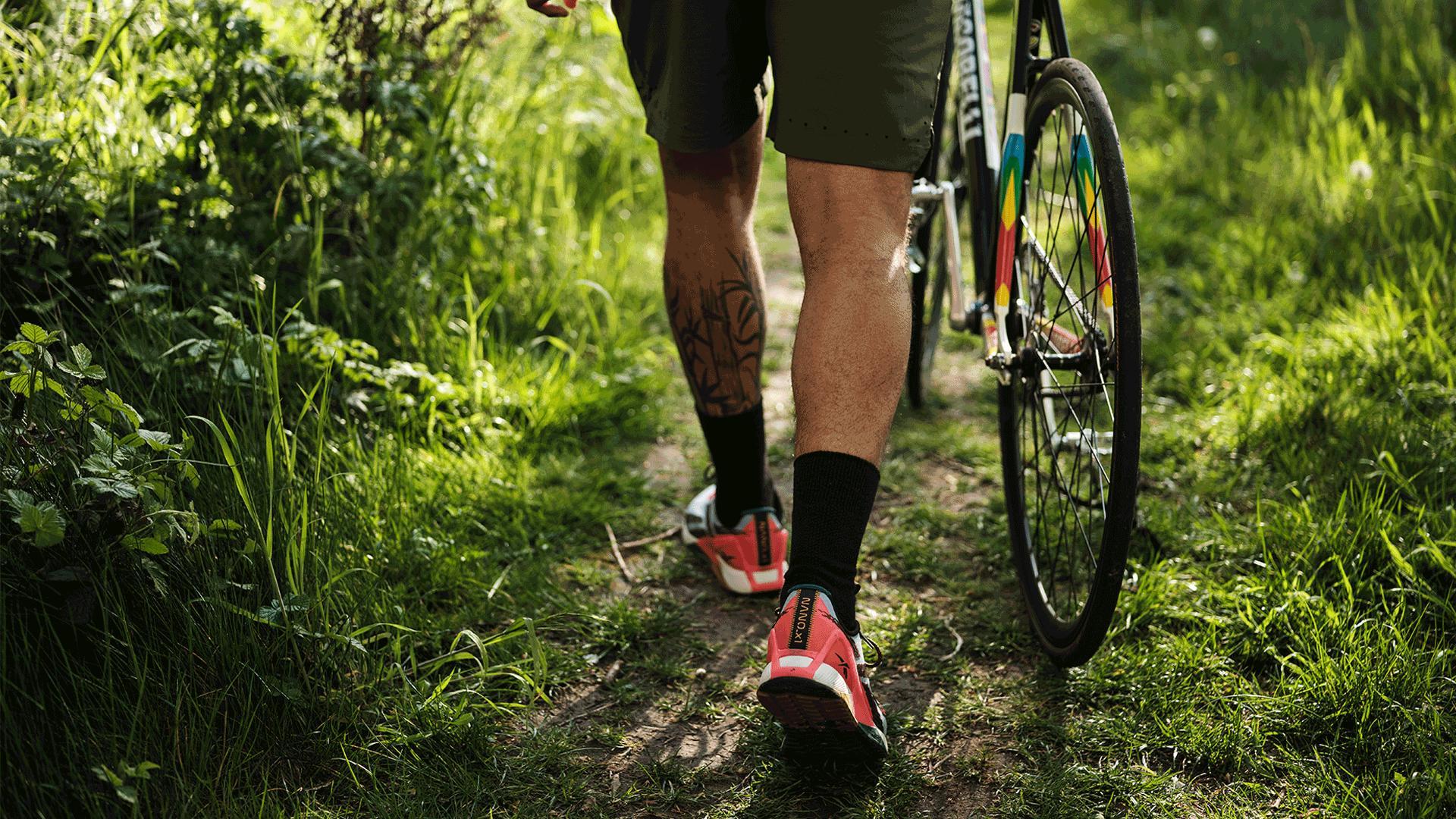 Reebok's Nano X1 Adventure training shoe | Walking with a bicycle