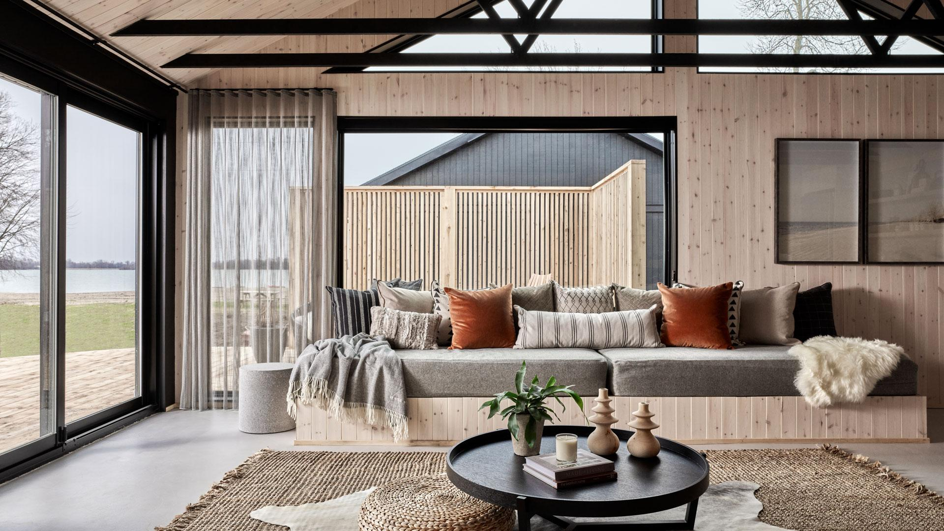 Wander the Resort in Prince Edward County | Inside the cabin's living room area
