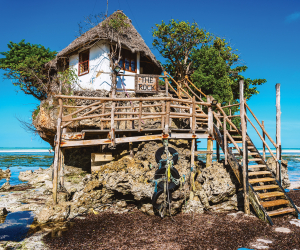 The Rock beachside restaurant in Zanzibar, Tanzania.