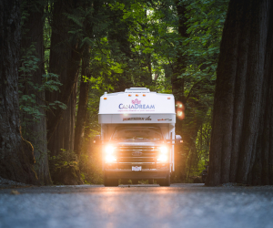 CanaDream: RV rentals in Ontario | A CanaDream Maxi Travel Camper in the woods