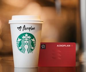 Aeroplan points partners with Starbucks Rewards   A Starbucks coffee next to an Aeroplan card