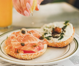 Montreal bagels   A bagel topped with cream cheese and salmon lox