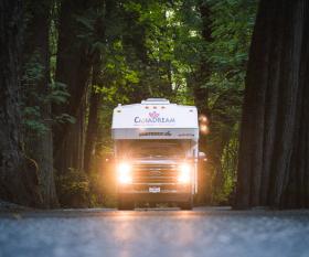 CanaDream: RV rentals in Ontario | A CanaDream Maxi Travel Camper in the woods