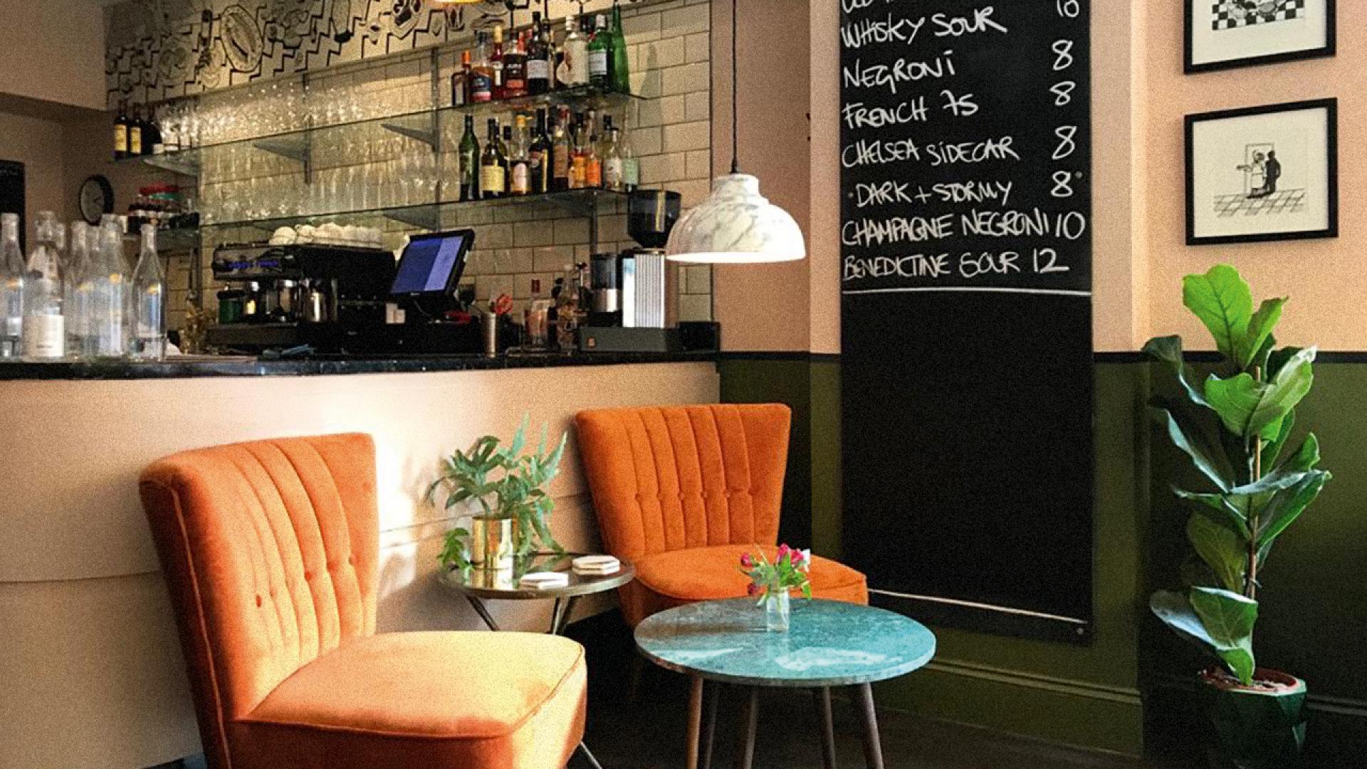 The Kent Coast, U.K.   Inside French restaurant The Frog & Scot