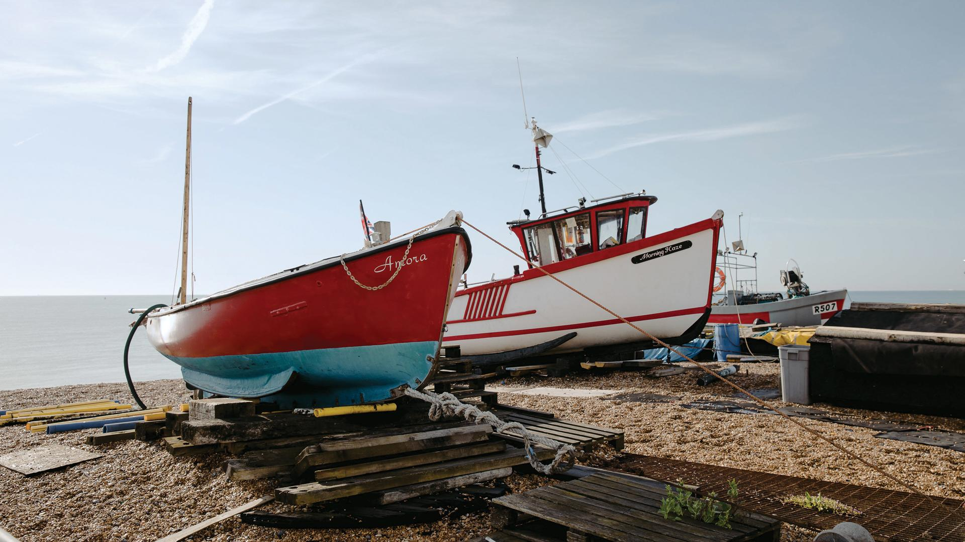 The Kent Coast, U.K.   Boats on the shore in Deal