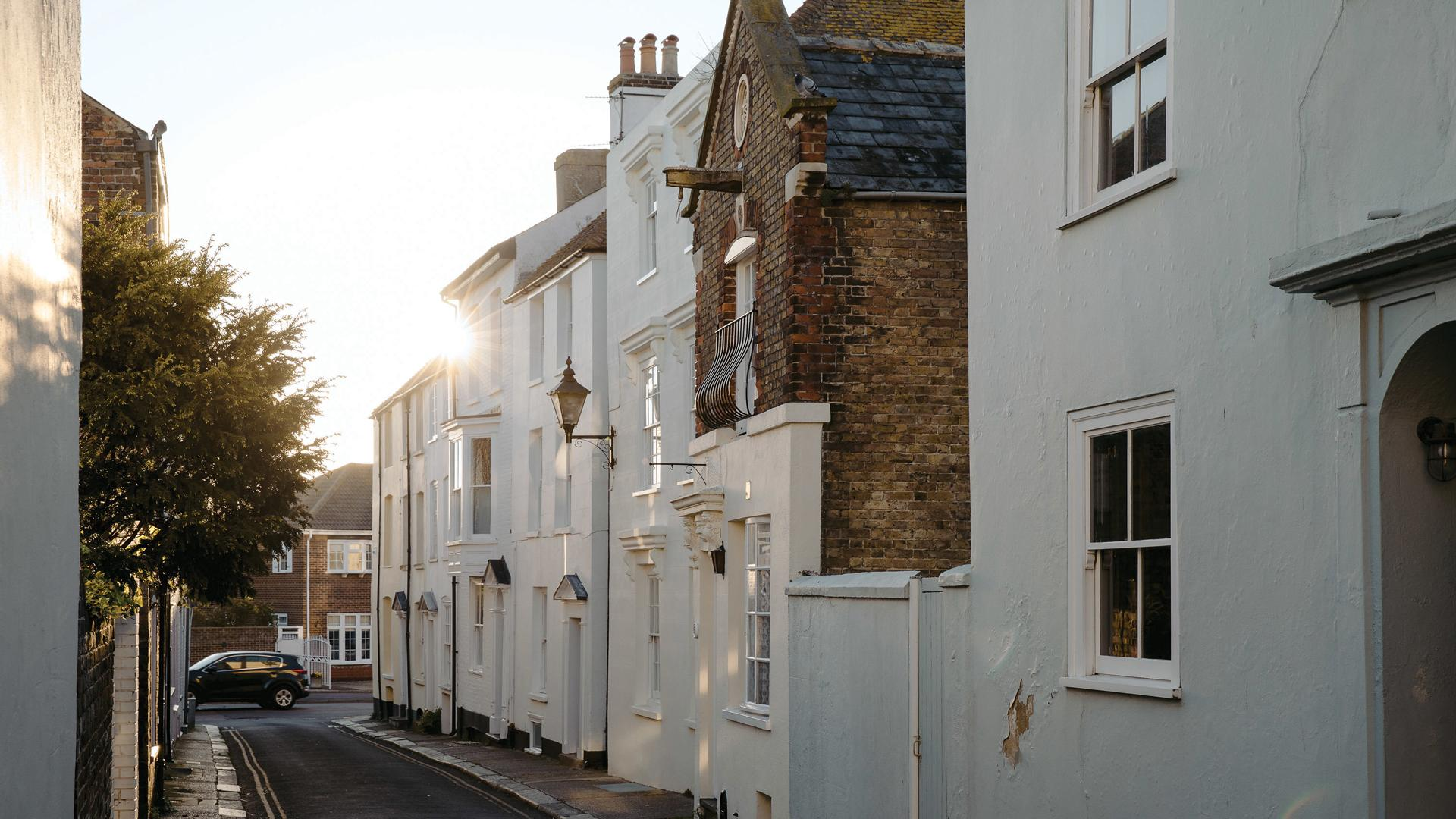 The Kent Coast, U.K.   Quaint houses in the town of Deal
