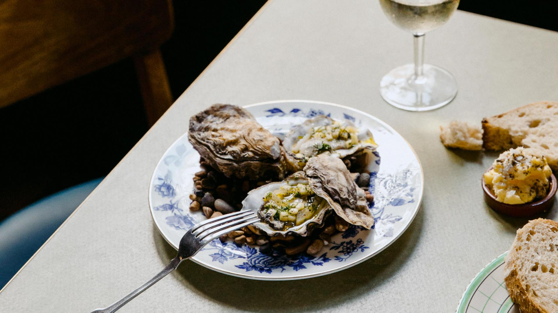 The Kent Coast, U.K.   Baked oysters at The Rose in Deal