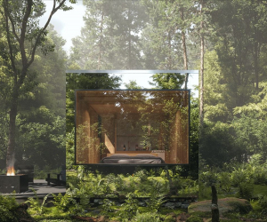 Arcana self-directed nature retreat opens in Ontario | Arcana's stainless steel cabin blends into its surroundings